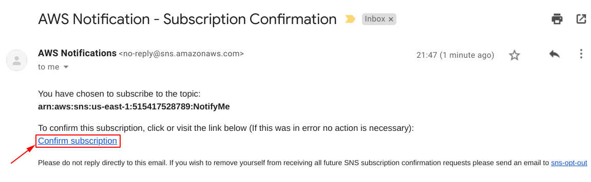 Click on cnfirm subscription inside the email sent to you by aws