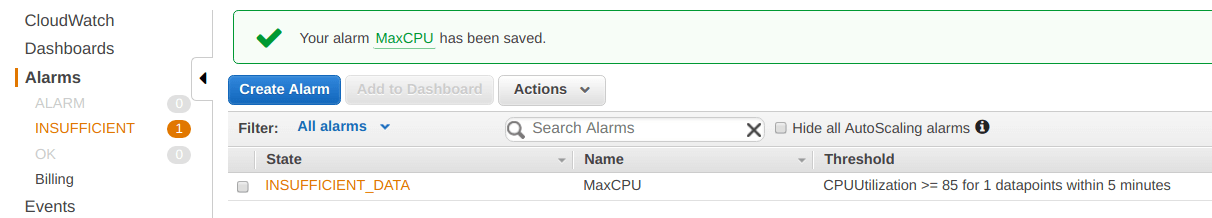 Alarm is created and saved