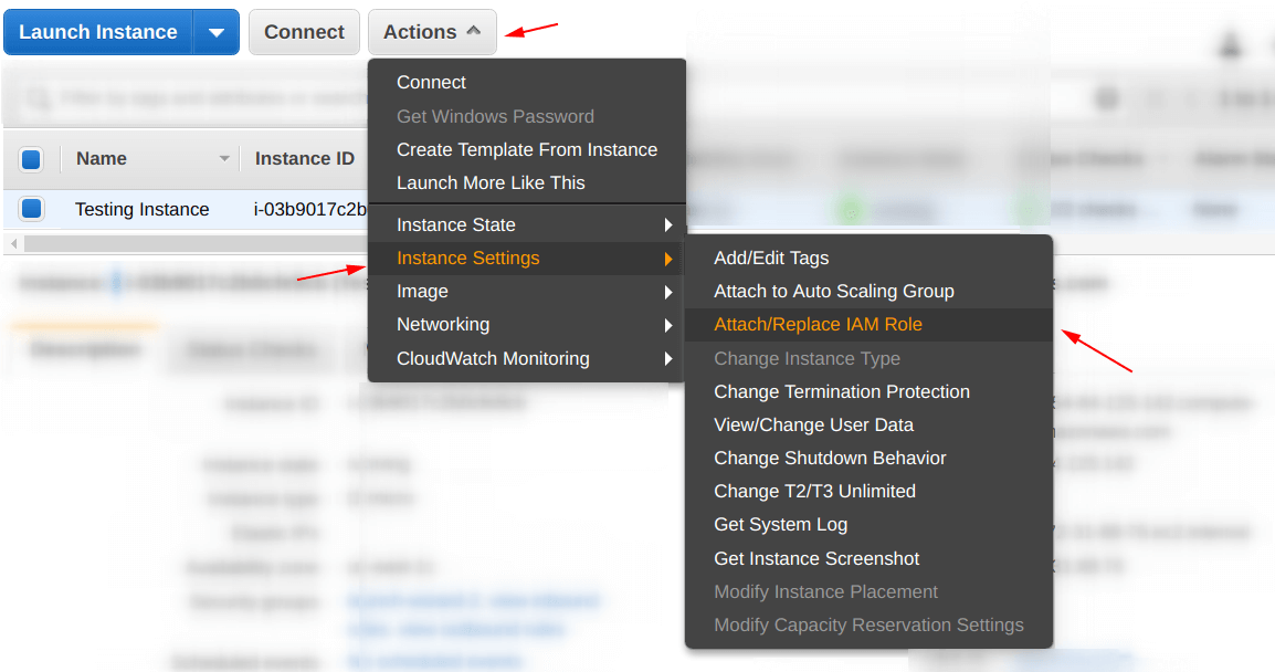Attach an IAM role to an EC2 intance from dashboard