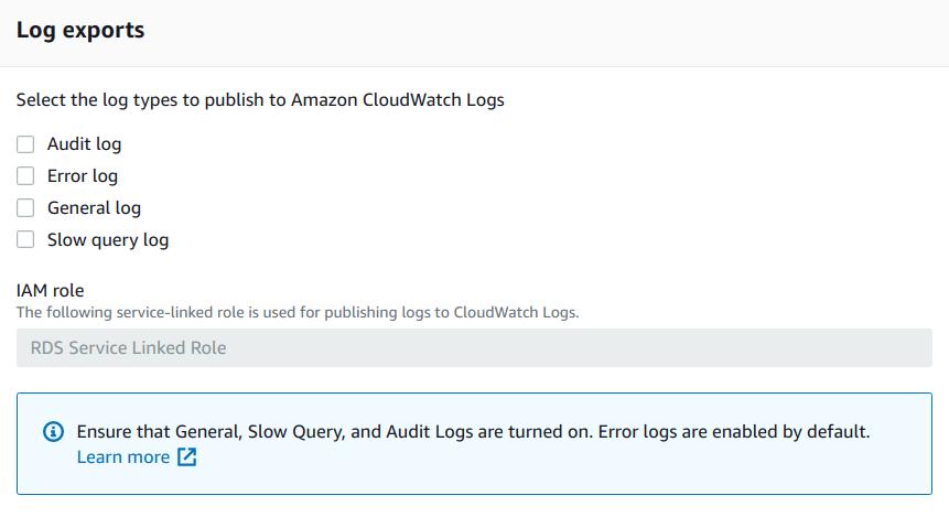 Configure advanced settings - Log exports