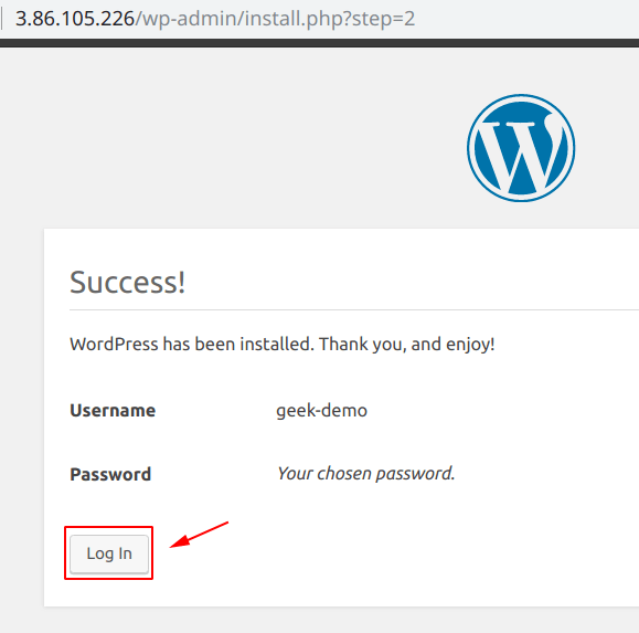 WordPress has been successfully installed