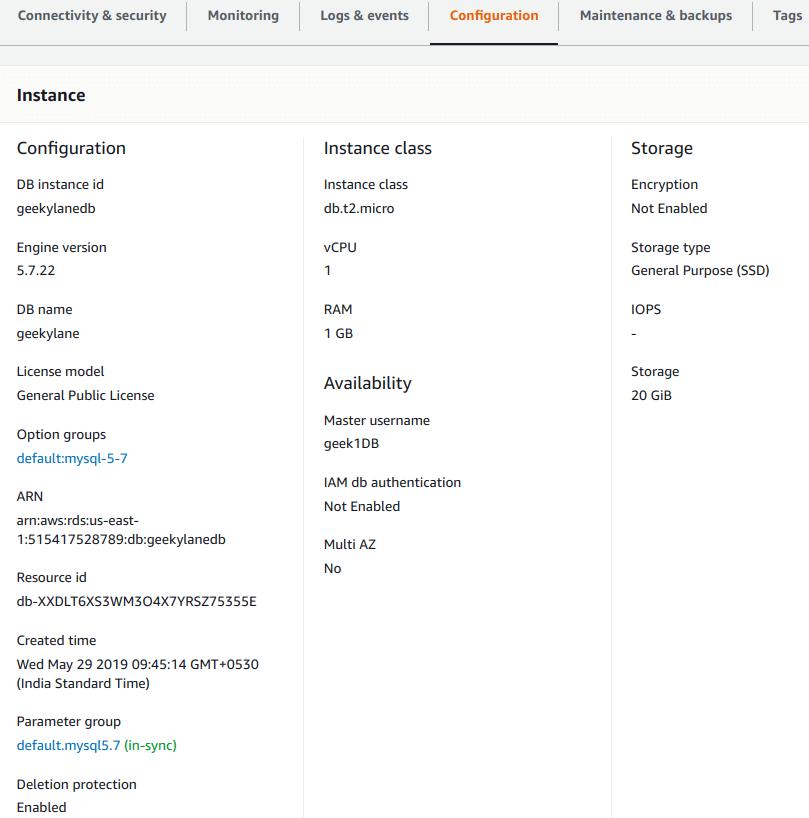 Configuration - MYSQL Database on Amazon RDS