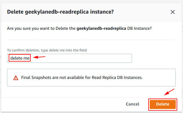 Confirm deletion of Read Replica