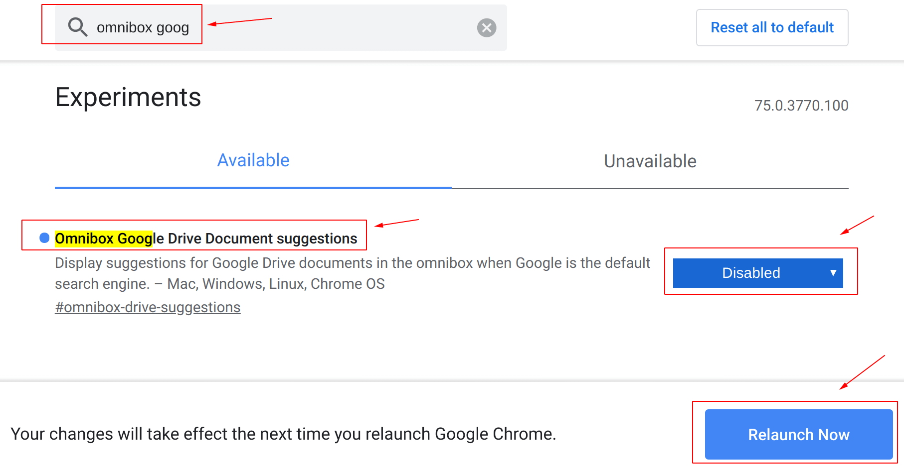 Click on Relaunch Now after change a chrome flag value