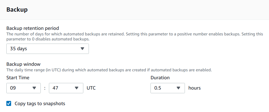 Enable backup of an RDS instance