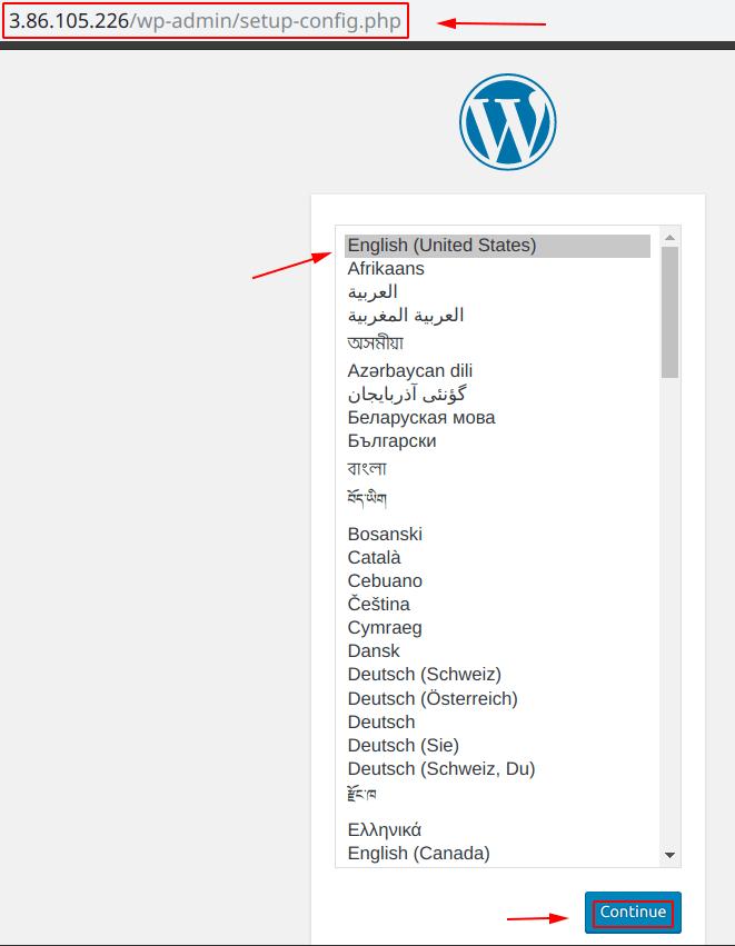 WordPress set-up screen - Language