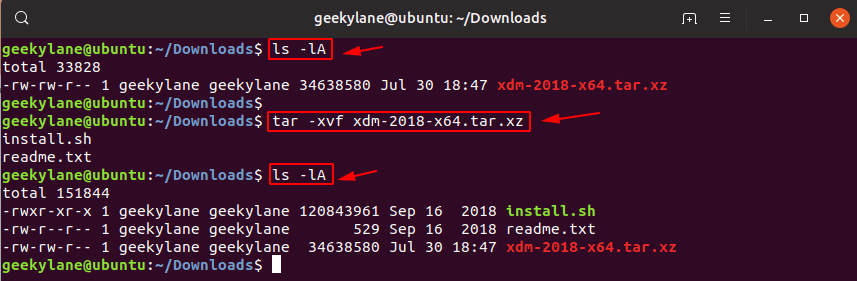 Extract .tar.xz files in ubuntu 19.04 using terminal
