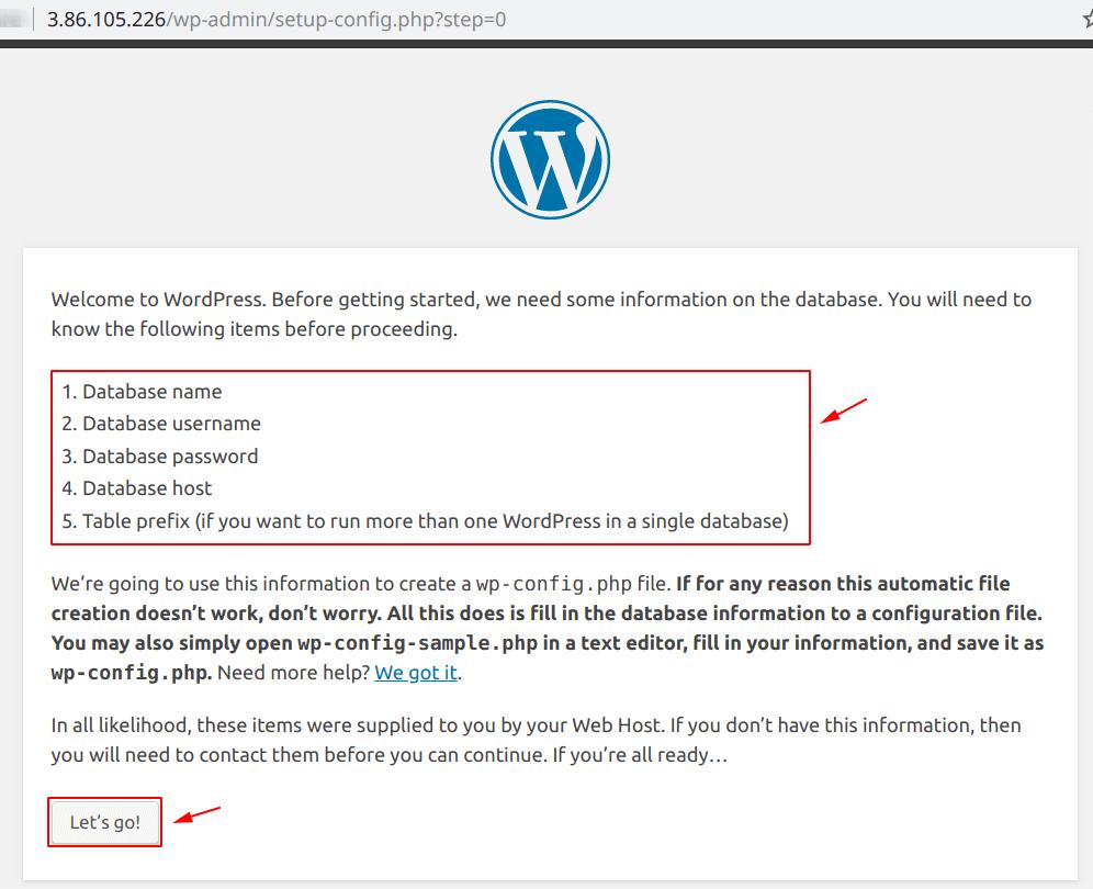 Welcome to WordPress screen
