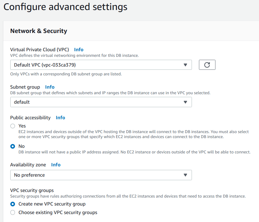 Configure advanced settings - Network and Security