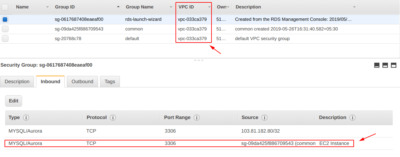 Add EC2 security group as source for RDS security group
