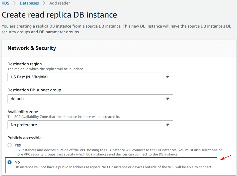 Create read replica DB instance - Network and Security