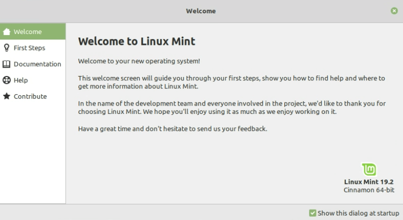 Welcome Screen - Install Linux Mint 19.2